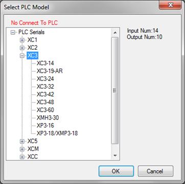 Okno wyboru modelu sterownika Xinje